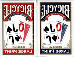 Large Print Rider Red & Blue 2 Deck Set Bicycle Playing Card